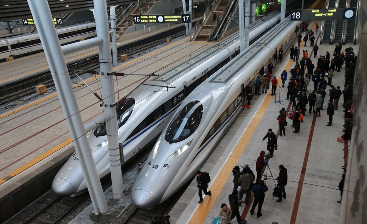 High speed trains at the Beijing end of the 2,298-kilometer line between Beijing and Guangzhou. Photo: AFP