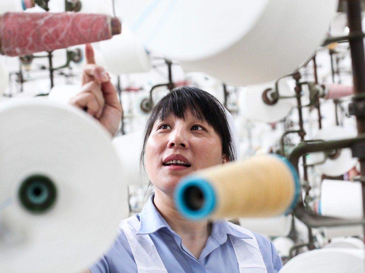 A Chinese worker in a textile factory in Nanping city in Southeast China's Fujian province. Photo: AFP