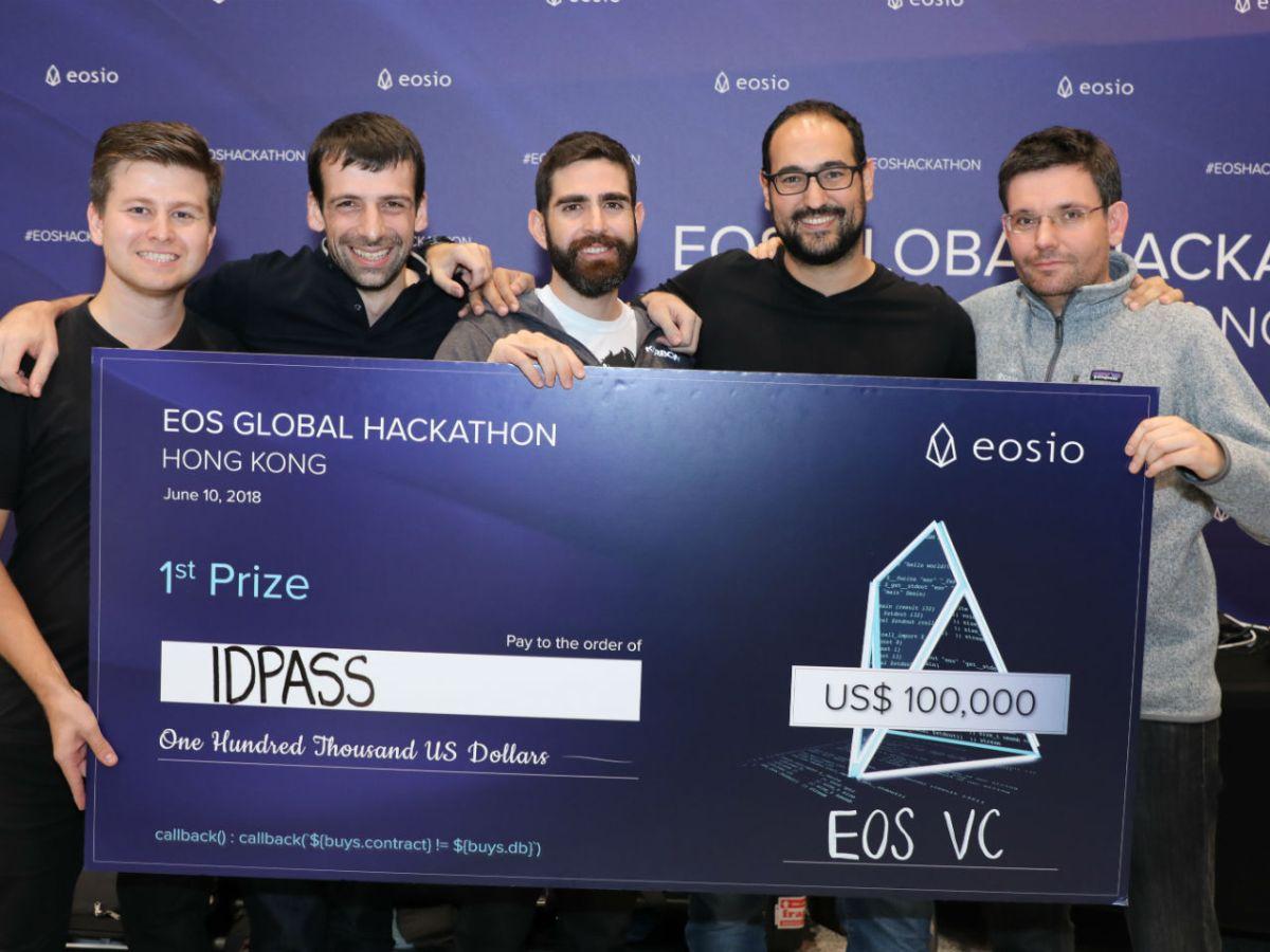 IDPASS, the winners of Block.one's EOS Global Hackathon held in Hong Kong. Photo: Block.one