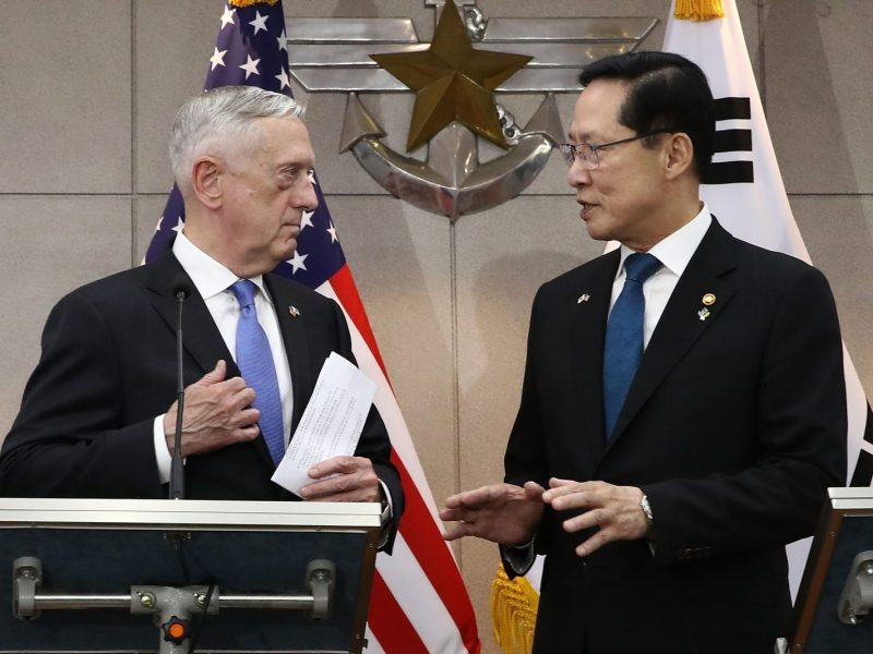 US Secretary of Defense Jim Mattis (L) with South Korea's Defense Minister Song Young-moo before their meeting in Seoul on June 28, 2018. Photo: AFP/Chung Sung-Jun
