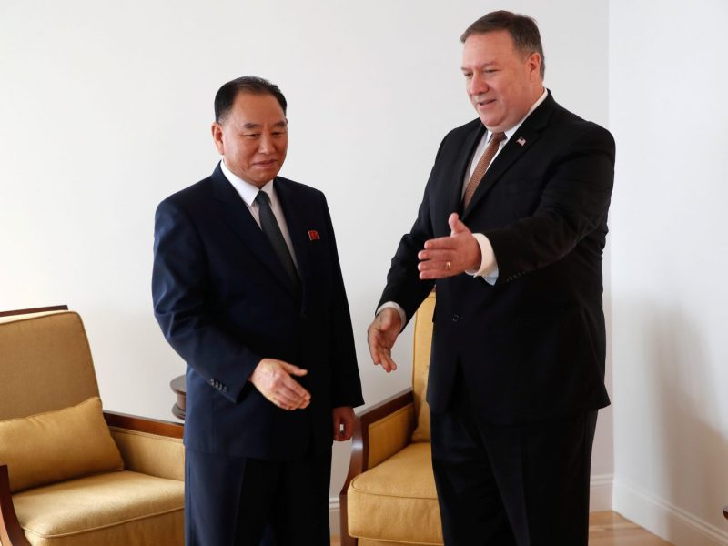 US Secretary of State Mike Pompeo and North Korea's envoy Kim Yong Chol during their meeting in New York on May 31, 2018. Photo: Reuters/Mike Segar