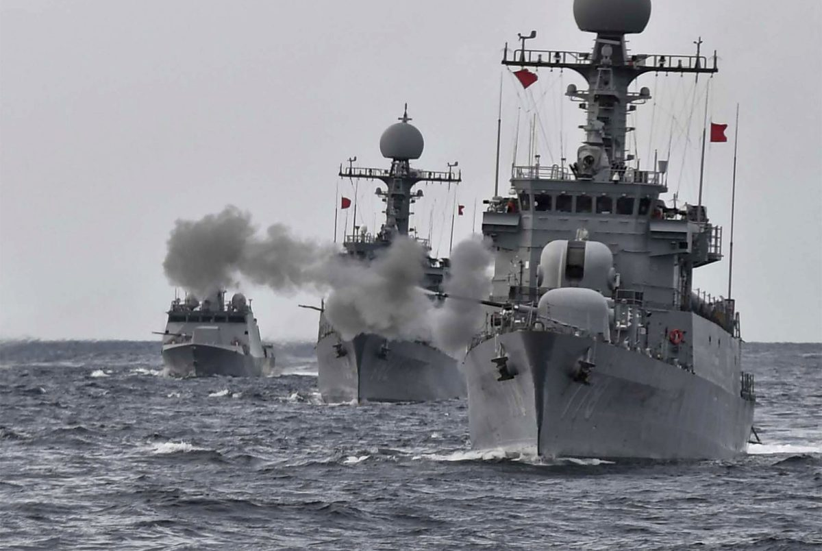 South Korean navy vessels taking part in a naval drill off the east coast of South Korea in September last year. Photo: AFP/South Korean Defense Ministry