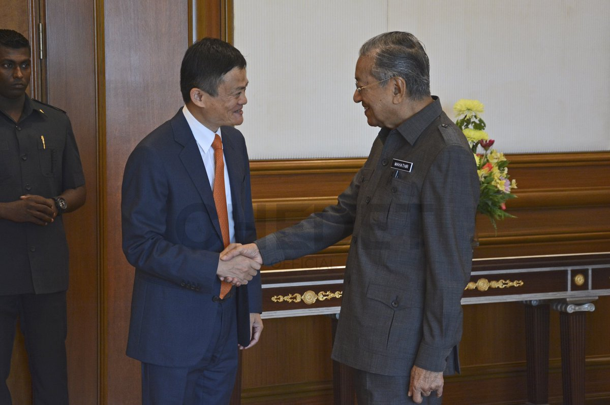 Chinese businessman Jack Ma meets Malaysian PM Mahathir Mohamad at his office on June 18. Photo: PM's Twitter account