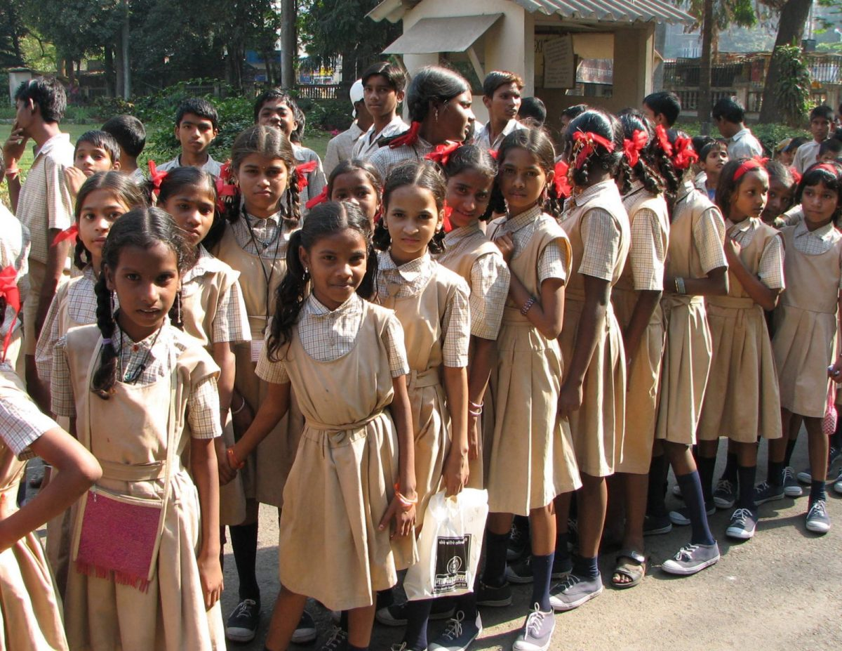 File photo of students protesting in a government school. Photo: Wikimedia Communications