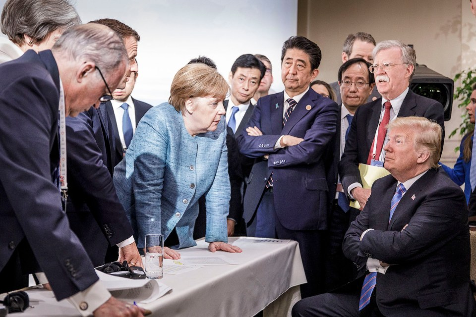 Germany's Chancellor Angela Merkel gets a point across to US President Donald Trump at the G7 summit in Canada on June 10. Friction between the European Union and the Trump administration has since intensified. Photo: Jesco Denzel / Bundesregierung / dpa / for Reuters