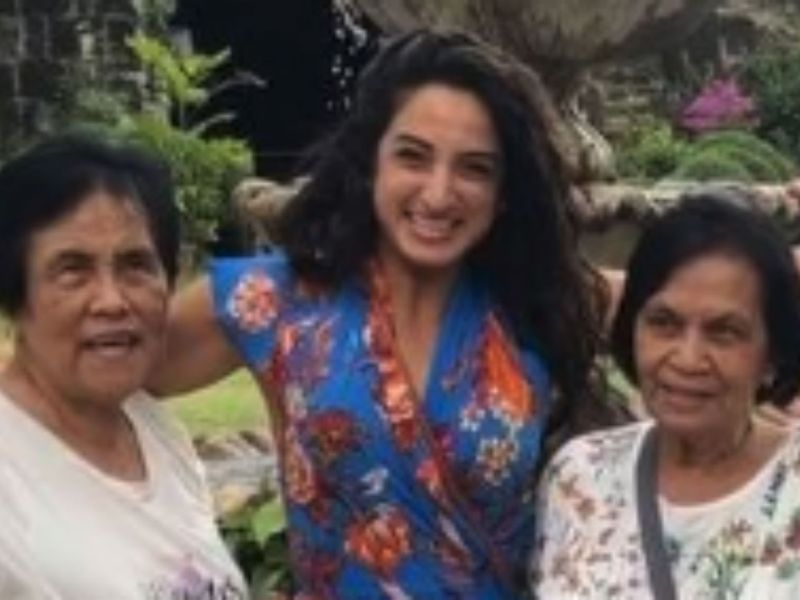 Saudi national Raha Moharrak with her two Filipino nannies who took care of her and her siblings for 36 years. Photo: Instagram/@rahamoharrak