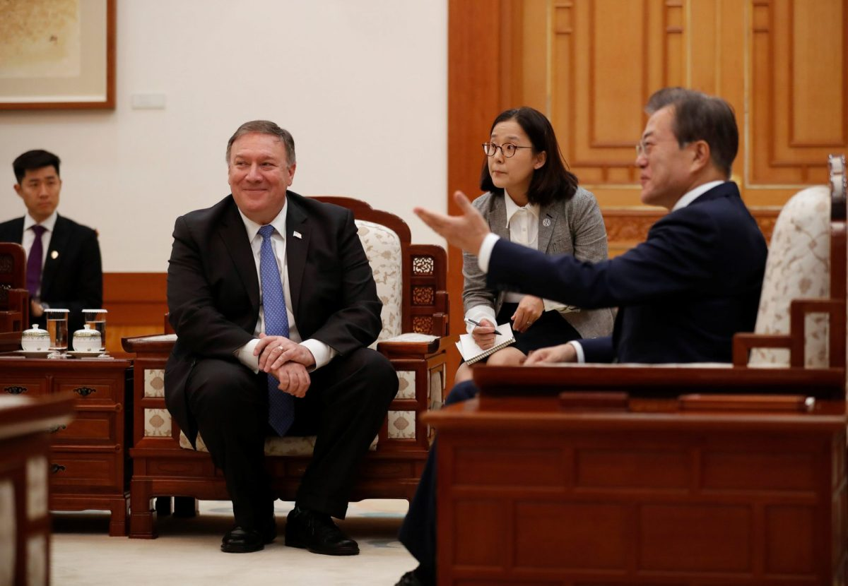 US Secretary of State Mike Pompeo with South Korea's President Moon Jae-in at the Blue House in Seoul on June 14, 2018. Photo: Reuters/Kim Hong-ji/Pool