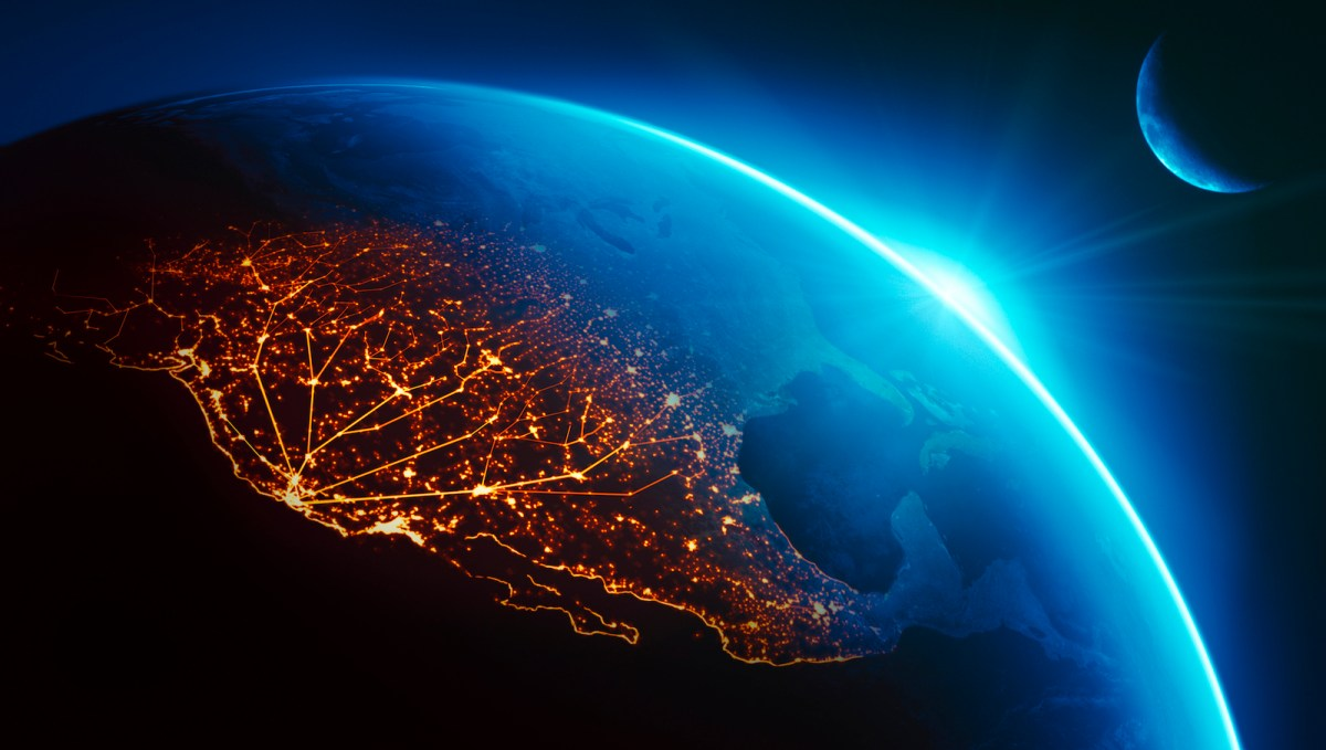 Silicon Valley bathed in night lights as the sun rises. Photo: NASA / iStock