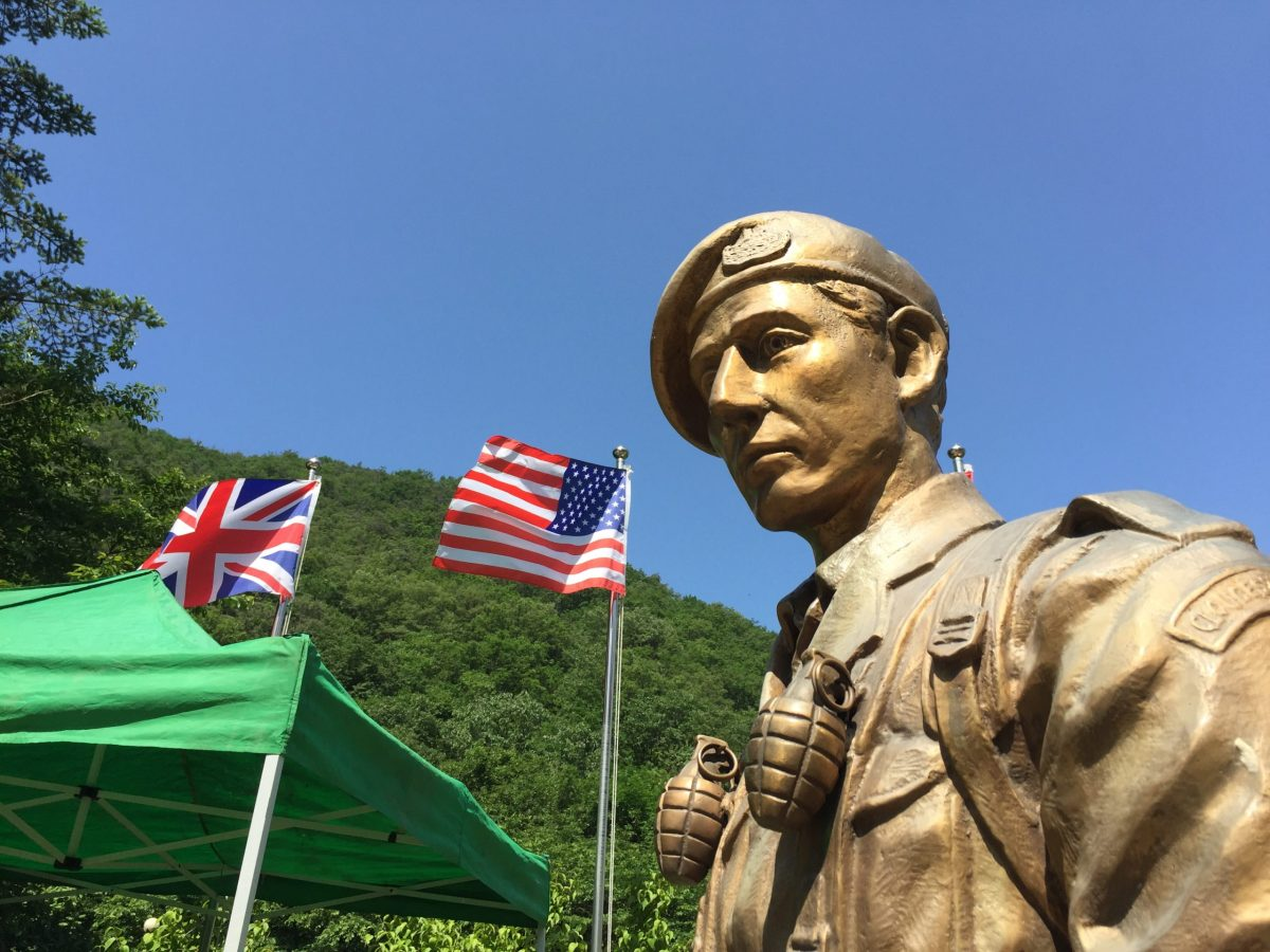A statue at the British Korean War memorial at Solma-ri, South Korea. Photo: Andrew Salmon/Asia Times