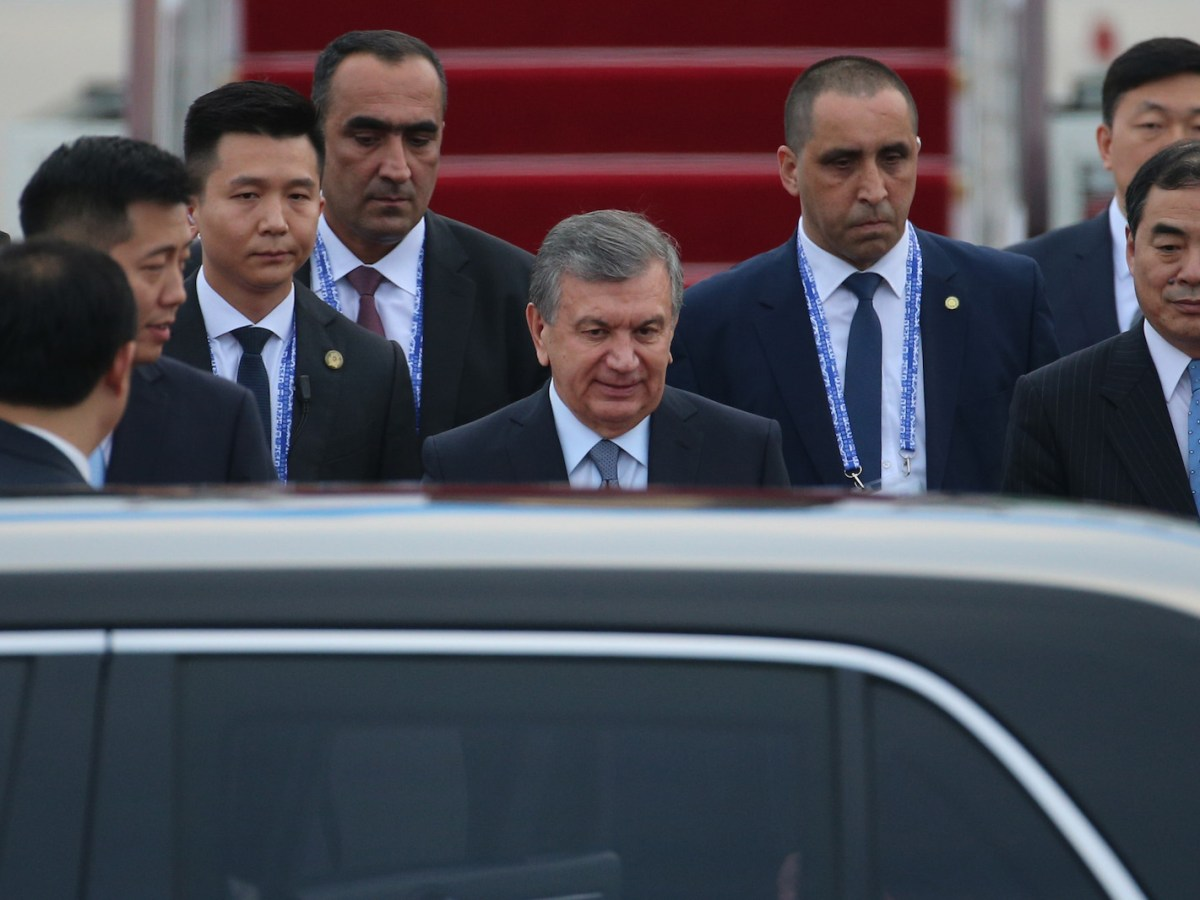Uzbekistan President Shavkat Mirziyoyev arrives at Qingdao Airport in China's Shandong province on June 8 for the SCO summit this weekend. Photo: AFP
