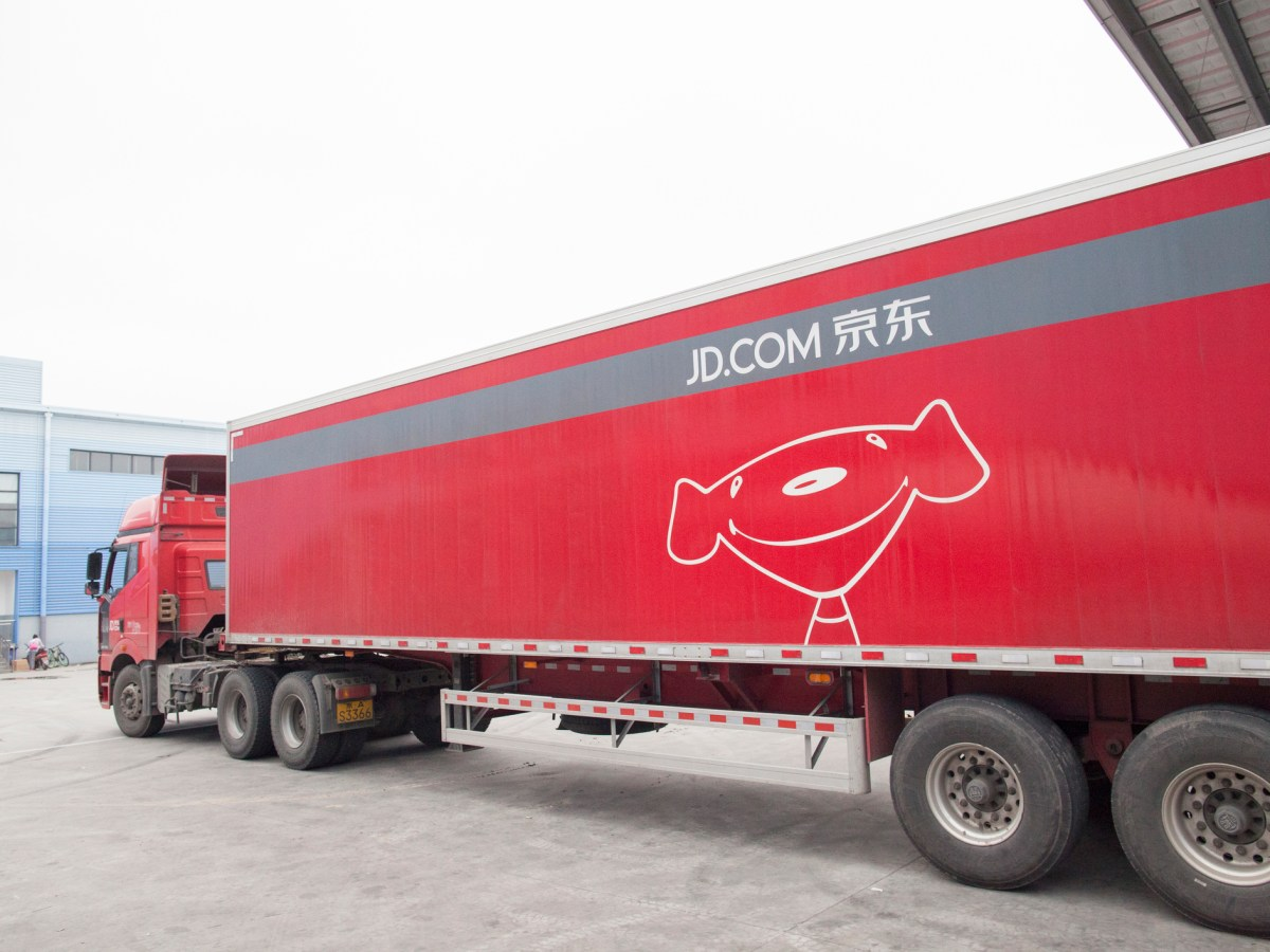 JD.com truck at the Northeast China based Gu'an warehouse and distribution facility. Photo: iStock