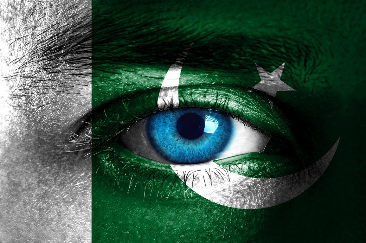Human face painted with flag of Pakistan. Photo: iStock