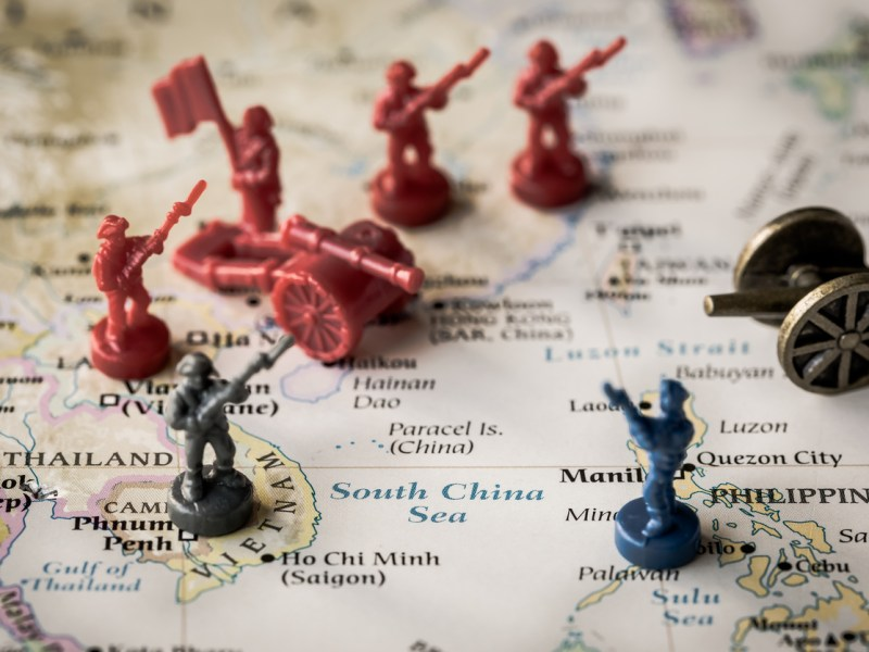 Illustrative Editorial image using plastic toy soldiers and canons on a map of the South China Sea. Tensions and conflict in the region have been heating up in recent years. Trade wars will only make it worse. Photo: iStock