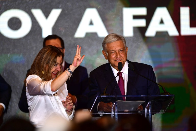Newly elected Mexico's President Andres Manuel Lopez Obrador addresses his supporters after winning general elections. Photo: AFP/Pedro Pardo