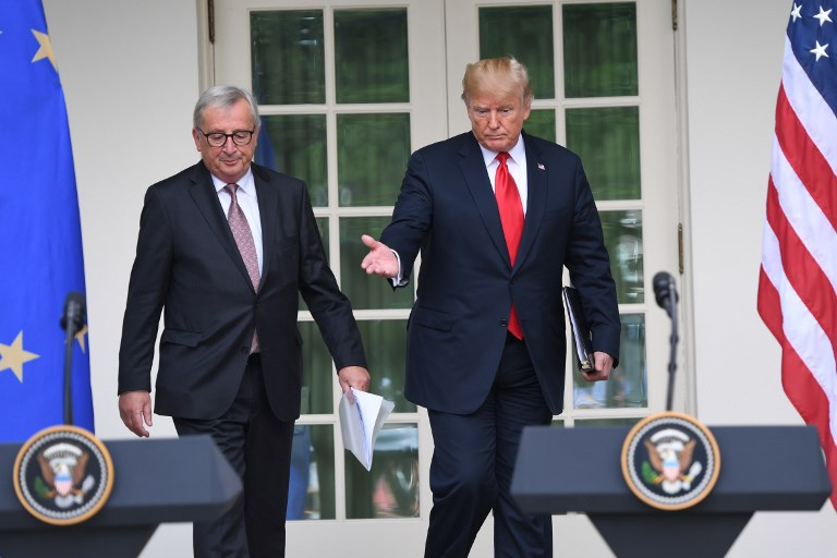 US President Donald Trump meets with European Commission President Jean-Claude Juncker in the Rose Garden of the White House on Wednesday. Photo: AFP/Saul Loeb