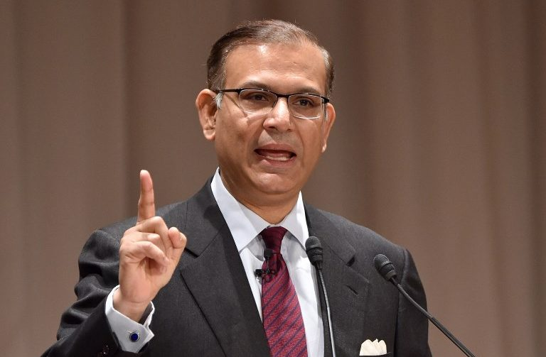 India's Union Minister Jayant Sinha delivers a speech at the 21st International  Conference of The Future of Asia at a hotel in Tokyo on May 22, 2015. Photo: AFP/Kazuhiro Nogi
