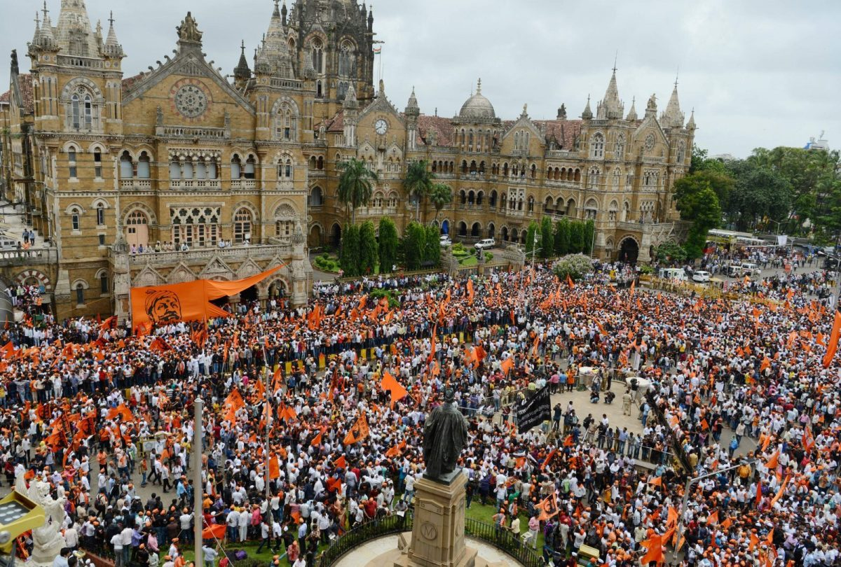 Indian members of the Maratha community in the state of Maharashtra take part in a rally in Mumbai on August 9, 2017.The Maratha Kranti Morcha silent protest is being held to demand emplyoment quotas for the Maratha in state-run education institutions and government jobs, a minimum support price for farm produce, and amendments to the Scheduled Castes and Scheduled Tribes (Prevention of Atrocities) Act. / AFP PHOTO / PUNIT PARANJPE
