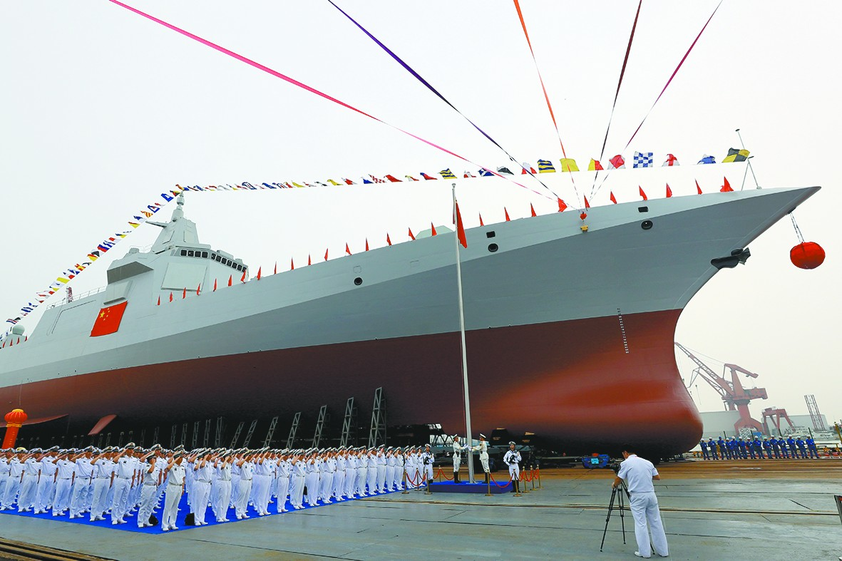 A file photo of the launch of the first ship of the Type 055 destroyer class at the Jiangnan Shipyard in Shanghai in June 2017.  Photo: PLA Daily
