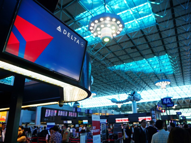 A Delta sign is seen inside a terminal building at Taipei's Taoyuan Airport. Photo: blogspot.com