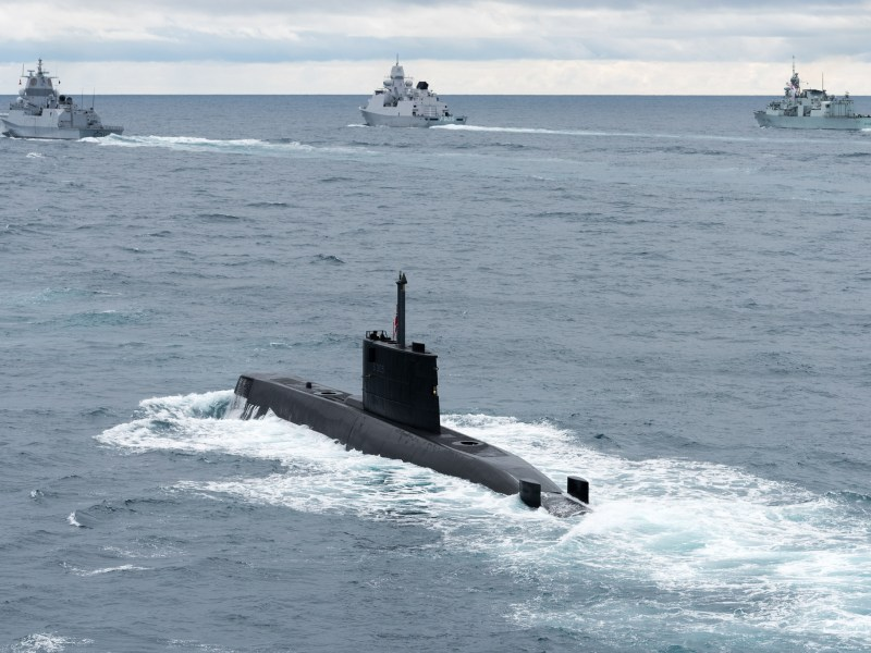 A Norwegian submarine seen during a training exercise in 2017. Photo: NATO