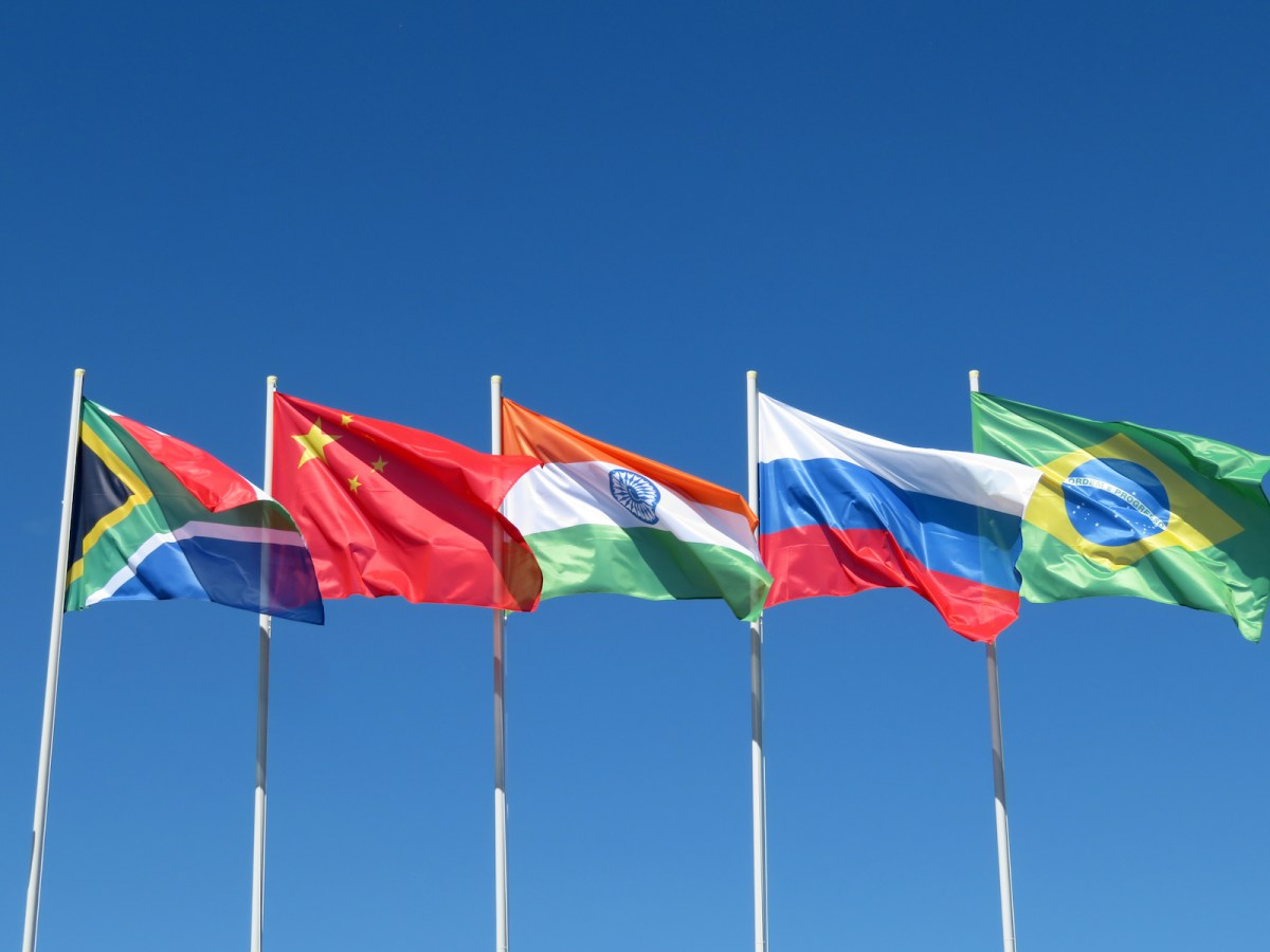 The flags of the BRICS nations – Brazil, Russia, India, China and South Africa – ripple in the breeze ahead of the summit. Photo: iStock