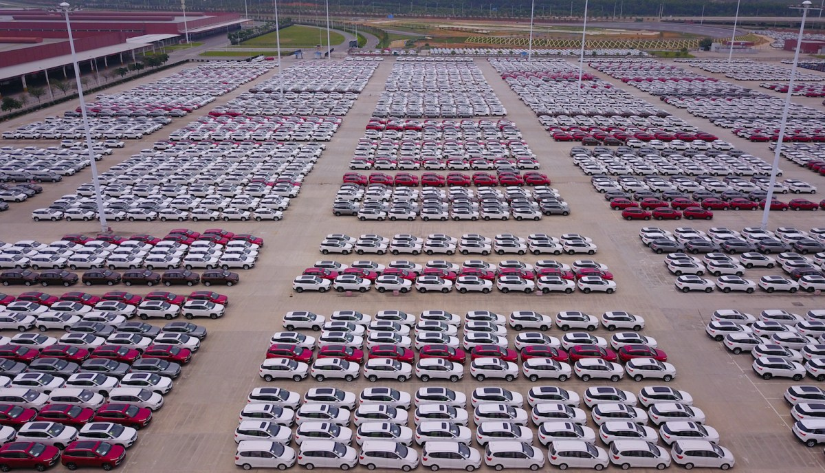 New electric Baojun cars lined up at a plant in Liuzhou. Photo: AFP