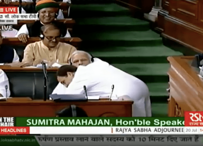 Congress President Rahul Gandhi hugs Prime Minister Narendra Modi in Parliament during discussions on the No-Confidence Motion on Friday. YouTube