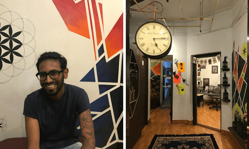 Anirban Roy Choudhury (left) and his tattoo studio and performance venue Forever Poetry (right) in Kolkata, West Bengal. Chandni Doulatramani