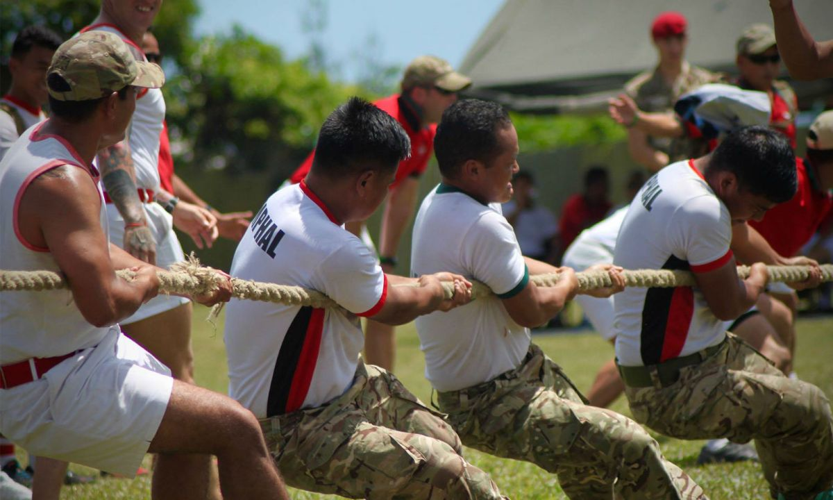 Soldiers of the Royal Gurkha Rifles celebrated the regiment's 24th anniversary with a tug of war and other physical activities. Photo: BFBS Brunei@Facebook