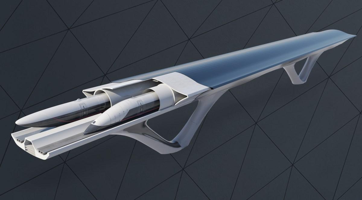 An artist's impression of the Hyperloop Transportation Technologies system. Illustration: HyperloopTT