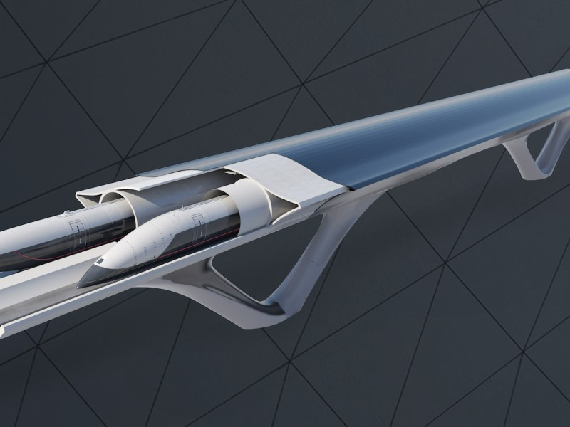 An artist's impression of the Hyperloop Transportation Technologies system. Illustration: HyperloopTT