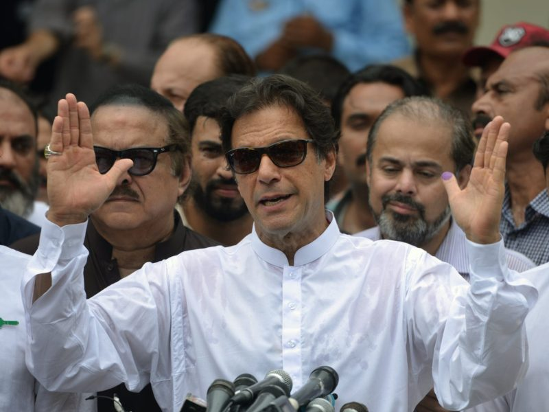 Imran Khan has been accused of bowing to religious extremists in Pakistan. Photo: AFP/Aamir Qureshi