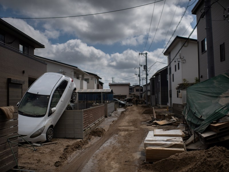 A street devastated by floods and landslides in Mabi, Okayama prefecture. Photo: AFP / Martin Bureau
