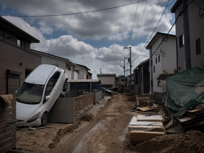 A street devastated by floods and landslides in Mabi, Okayama prefecture. Photo: AFP / Martin Bureau