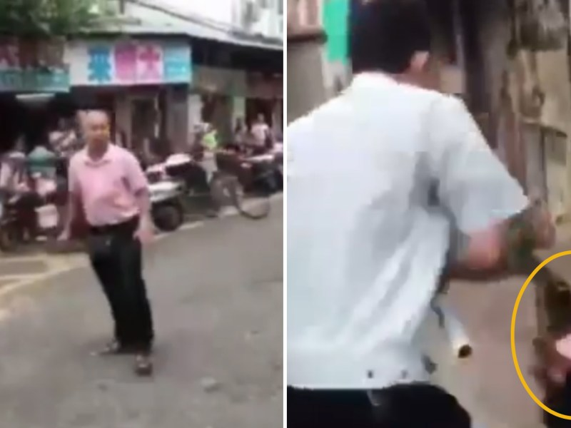 A Jiangmen hawker armed with a knife attacks an urban management officer. Photo: Weibo