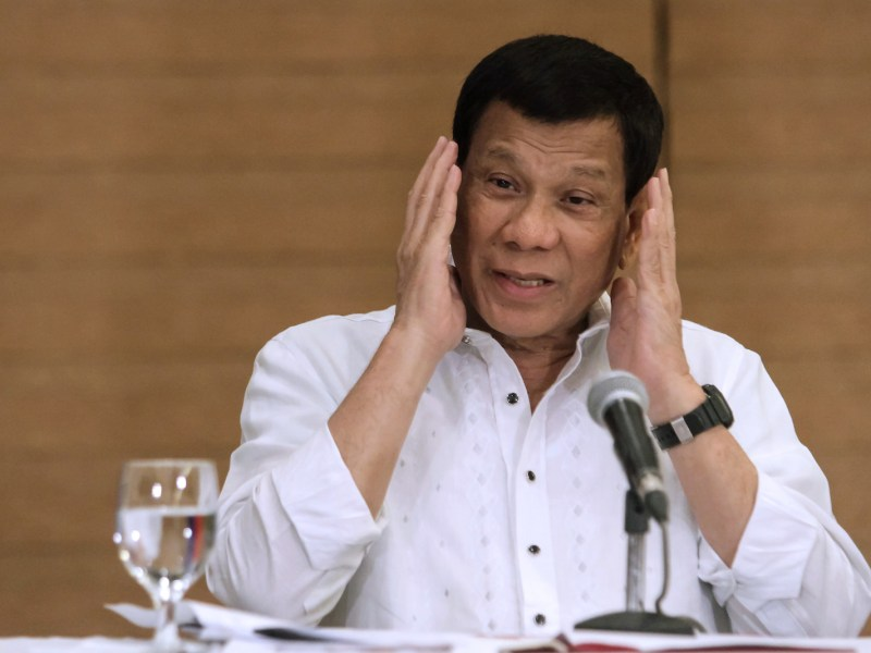 Philippine President Rodrigo Duterte gestures as he speaks during a press conference in Davao City, in the southern island of Mindanao on February 9, 2018. Photo: AFP
