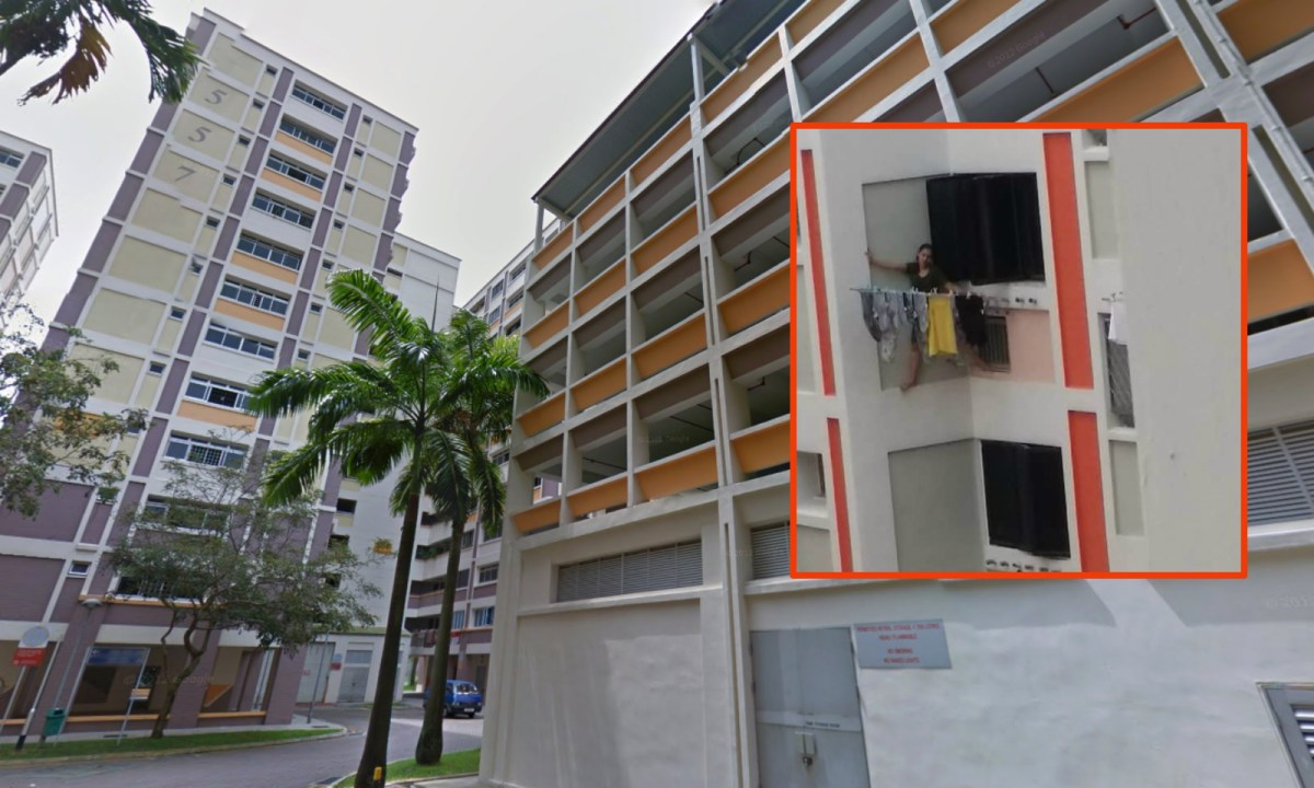 The maid (inset) was seen standing on a ledge at Block 557, Choa Chu Kang, Singapore. Photos: Google Maps, Facebook/Jessika Putry
