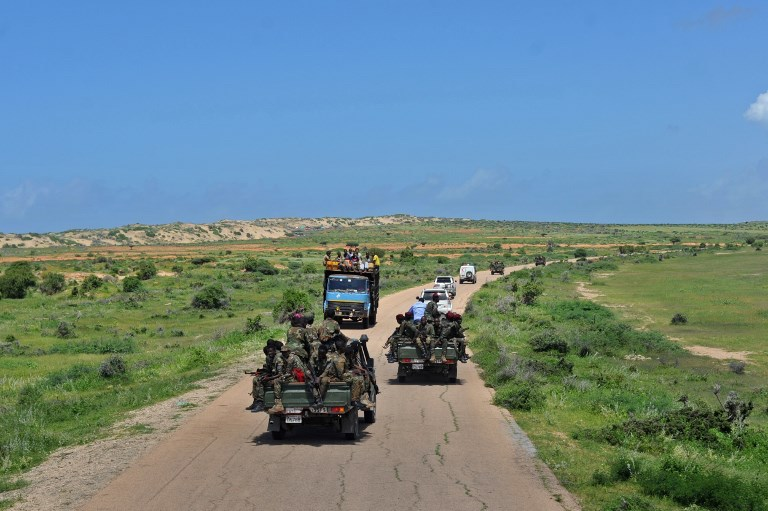 Somali soldiers patrol in convoy near Sanguuni military base, where an American special operations soldier was killed by a mortar attack on June 8, about 450km south of Mogadishu, on June 13, 2018. Photo: AFP / Mohamed Abdiwahab