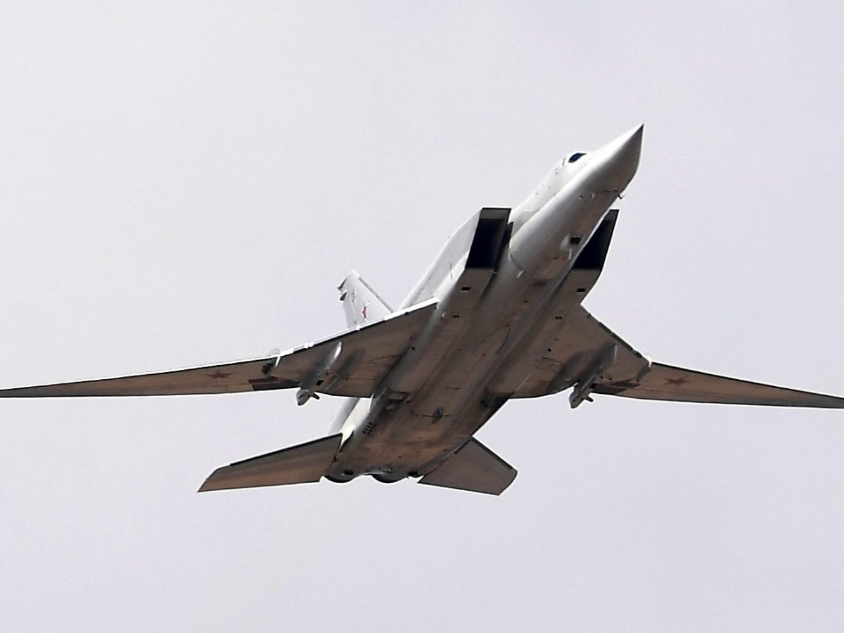 A Tupolev Tu-22M3 strategic bomber which is capable of carrying a newly developed missile. Photo: AFP/Alexey Kudenko/Sputnik