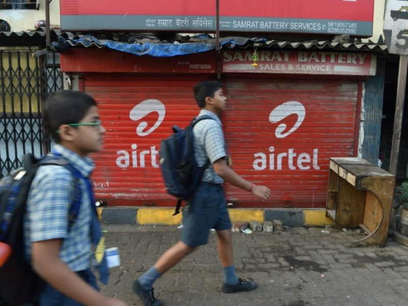 Airtel advertising on a shop front in Mumbai: AFP
