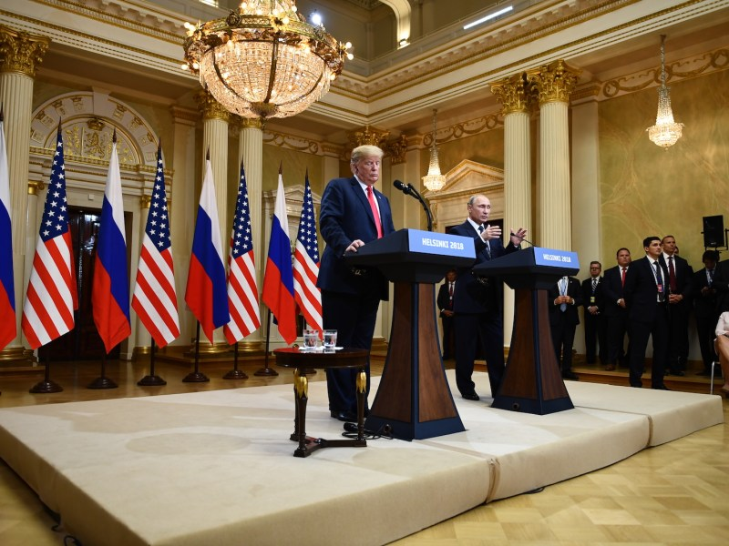 US President Donald Trump and Russia's President Vladimir Putin attend a joint press conference after a meeting at the Presidential Palace in Helsinki, on July 16, 2018. Photo: AFP/ Brendan Smialowski