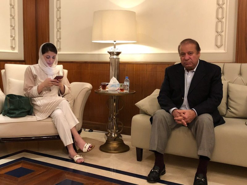 Maryam and Nawaz Sharif at Abu Dhabi airport on their way back to Pakistan on July 13, 2018. Photo: Twitter