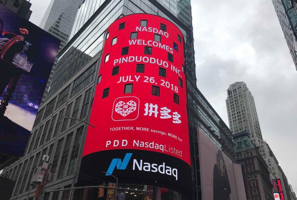 Chinese group-buying platform Pinduoduo debuted last week on Nasdaq in New York last week. Photo: Handout
