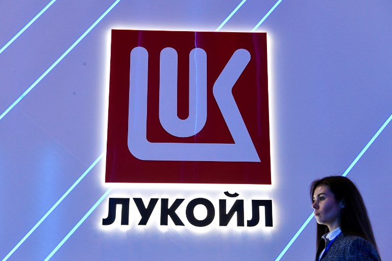 Russian private oil company Lukoil's logo is seen in St Petersburg. Photo: AFP