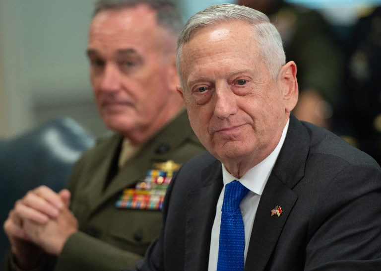 US Secretary of Defense Jim Mattis. Photo: AFP