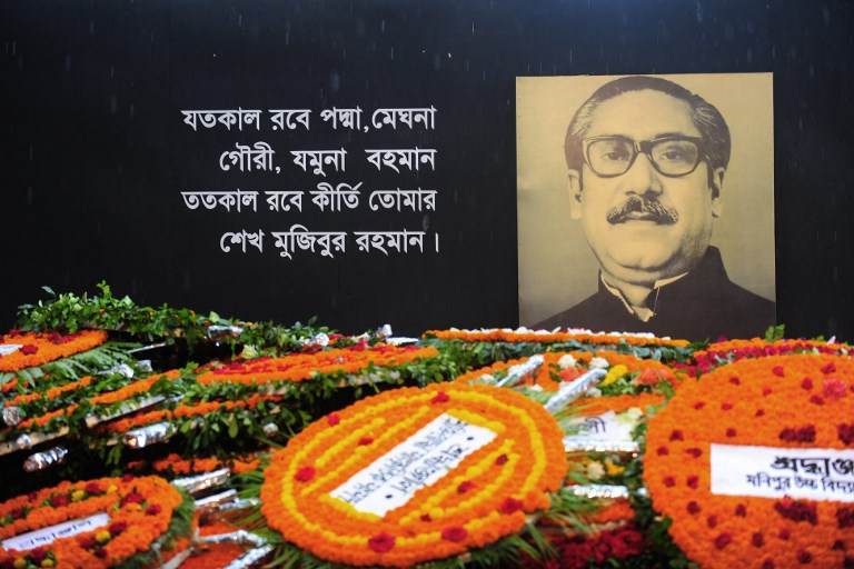 The Sheikh Mujibur Rahman Memorial is covered with floral wreaths in Dhaka on August 15, 2010. Bangladesh's founding father was killed along with many family members in a military coup on August 15, 1975 by a group of disgruntled army officers. Photo: AFP / Munir uz Zaman