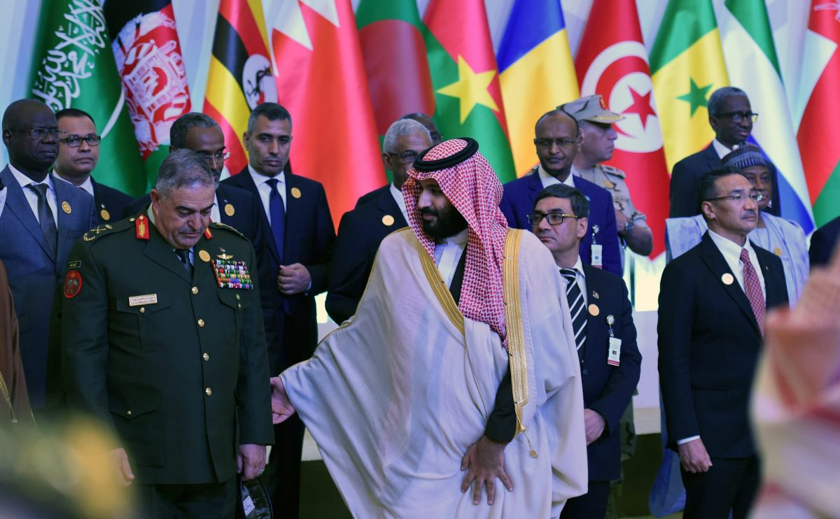 Saudi Crown Prince and Defense Minister Mohammed bin Salman (center) and the chairman of Jordan's Joint Chiefs of Staff, Lieutenant-General Mahmoud Freihat (left), appear with other defense ministers and officials of the 41-member Saudi-led Muslim counterterrorism alliance, formed in 2015. Photo: AFP / Fayez Nureldine