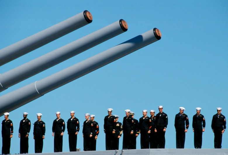 Australian warship and crew take part in a naval review and maritime parade in Sydney Harbor. Photo: AFP