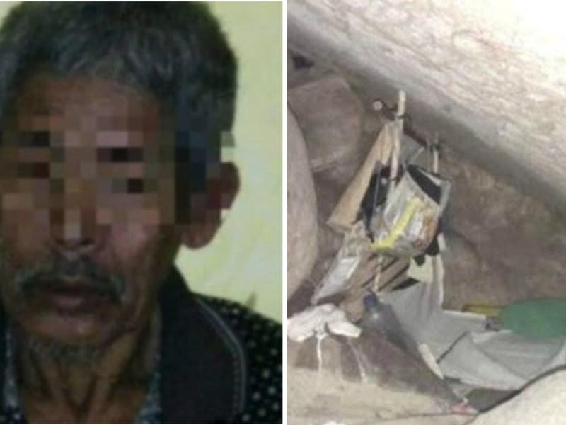 The witch doctor and the cave he kept the woman in. Photo: Indonesian Police
