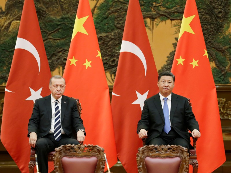 Turkish President Tayyip Erdogan, left, and Chinese President Xi Jinping attend a signing ceremony ahead of the Belt and Road Forum in Beijing. Photo: AFP